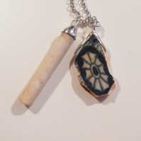 SOLD Thames ceramic and clay pipe with silver finishings ~ frammento di ceramica e pipa rifinite in argento