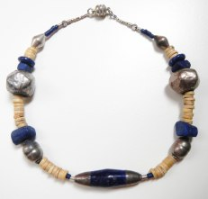 lapis lazuli necklace, silver hammered on pitch and clay, African bones ~ collana lapislazzuli, argento martellato su pece e su argilla, osso dall'Africa