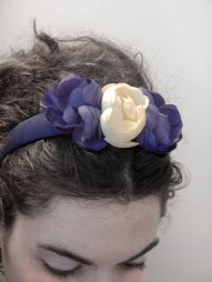 SOLD handmade hairband with old trimmings and flowers that can be easily removed ~ cerchietto rivestito a mano con fiori applicabili e interno rifinito con un'antica passamaneria