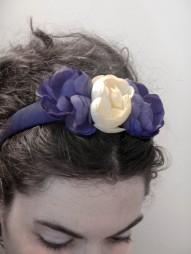SOLD handmade hairband with old trimmings and flowers that can be easily removed ~ cerchietto rivestito a mano con fiori applicabili e interno rifinito con un'antica passamaneria