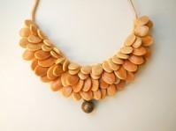 SOLD pumpkin seeds and chinese pendant ~ collo di semi di zucca cuciti su tessuto e ciondolo cinese